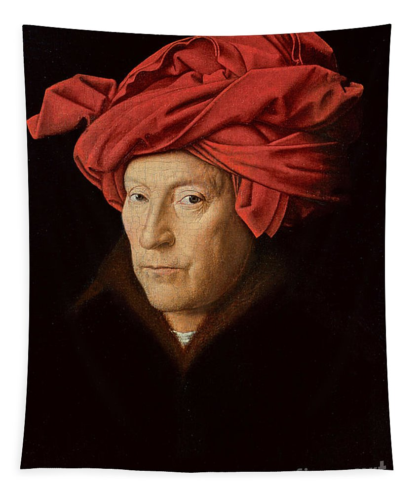 Red; Headdress; Male; Portrait; Fur-trimmed Coat; Frame; Framed; Male; Portrait; Turban; Portrait Tapestry featuring the painting Portrait Of A Man by Jan Van Eyck