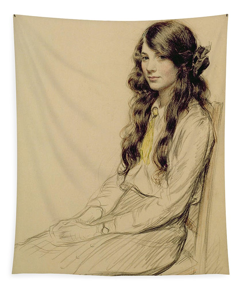 Portrait Tapestry featuring the drawing Portrait Of A Young Girl by Frederick Pegram