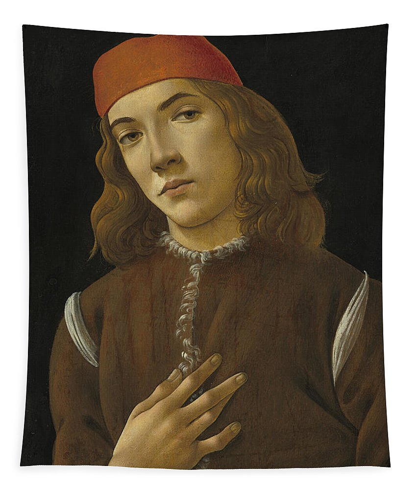 Sandro Botticelli Tapestry featuring the painting Portrait Of A Youth by Sandro Botticelli