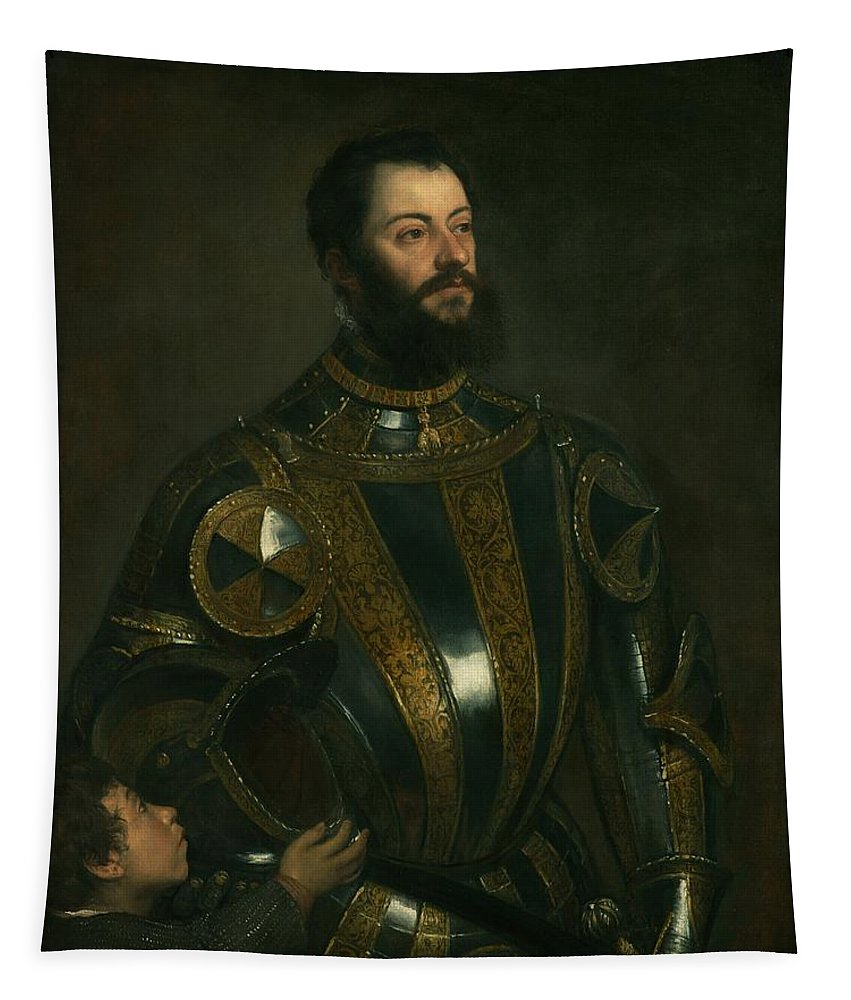 Painting Tapestry featuring the painting Portrait Of Alfonso D'avalon - Marquis Of Vasto - In Armor With A Page by Mountain Dreams