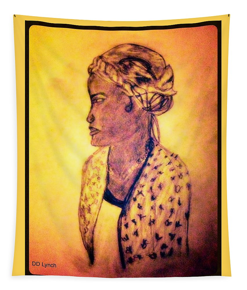 African Tapestry featuring the drawing Portrait Of Lovely African Woman by Debra Lynch