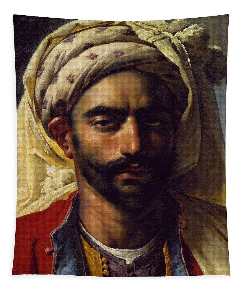 Orientalist; Muslim; Swarthy; Turban; Male; Girodet; Bust; Head; Moor; Arab; Arabe Tapestry featuring the painting Portrait Of Mustapha by Anne Louis Girodet de Roucy-Trioson