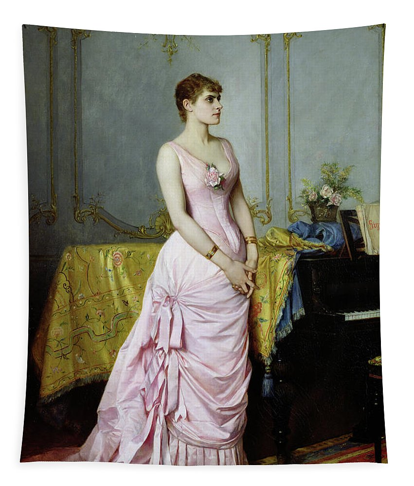 Piano Tapestry featuring the painting Portrait Of Rose Caron by Auguste Toulmouche