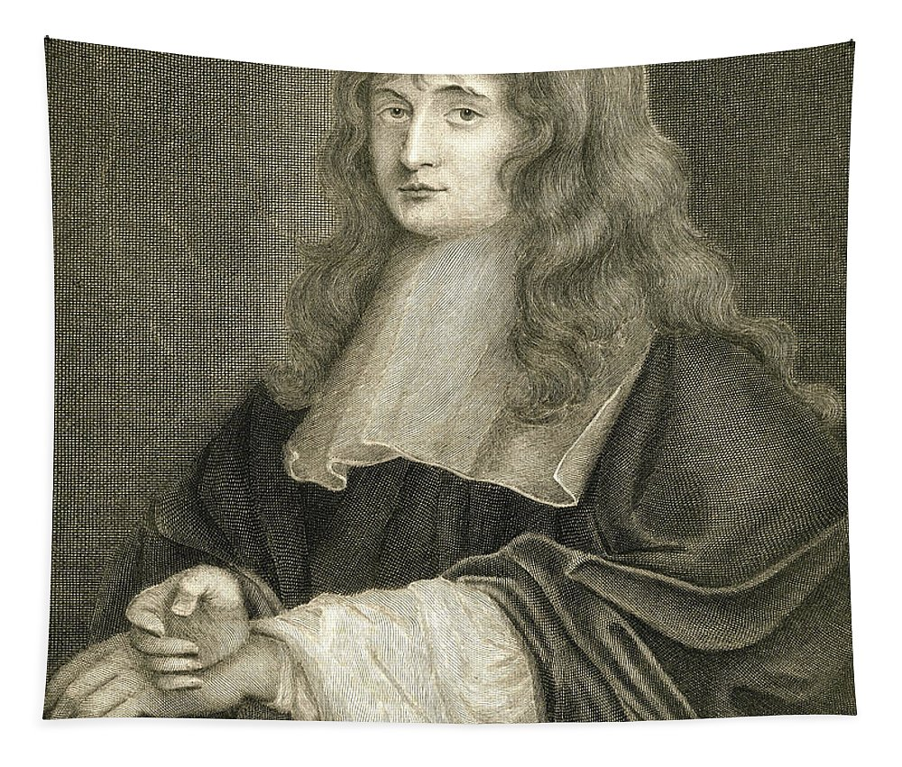 Vintage; Illustration; One Person; Man; Male; Isaac Newton; Engraving; Half-length; Portrait; Eye Contact; English; Mathematician; Physicist; Science; Scientist Tapestry featuring the drawing Portrait Of Sir Isaac Newton by Sir Peter Lely