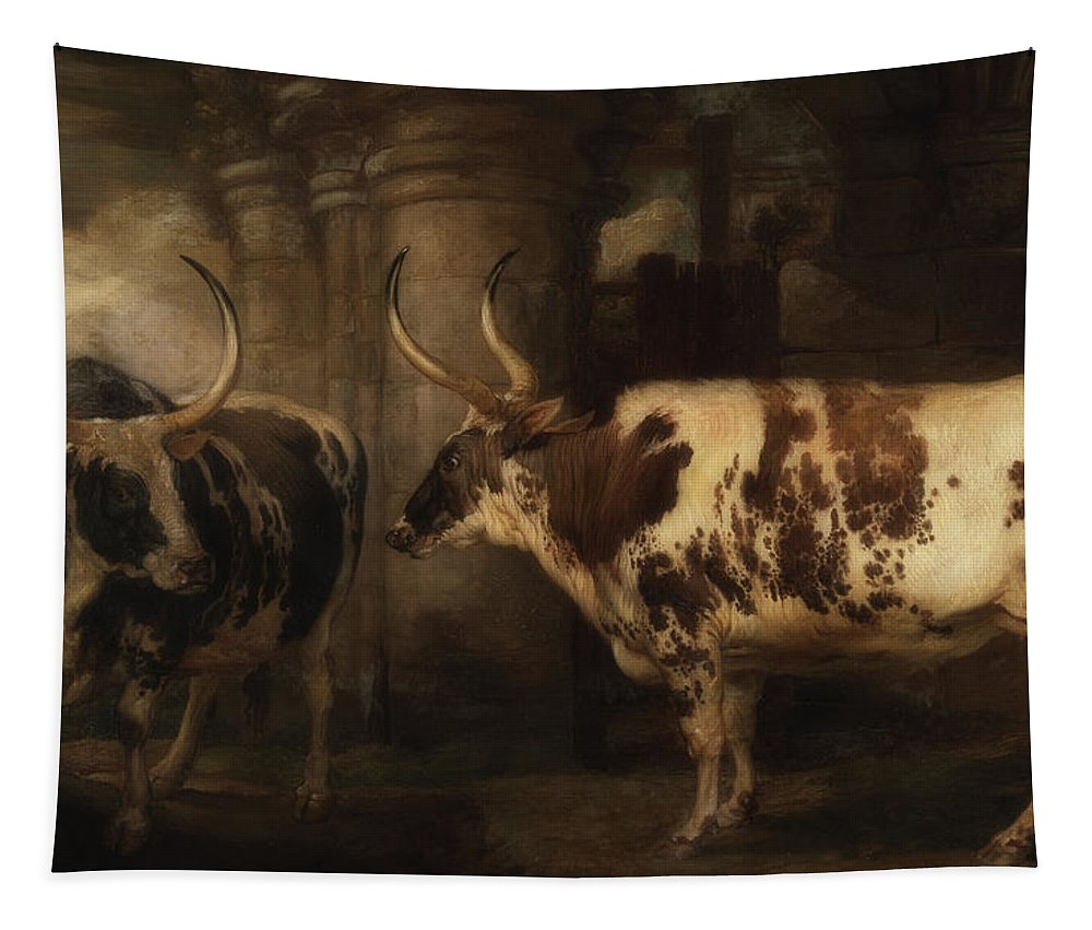 Painting Tapestry featuring the painting Portrait Of Two Oxen - The Property Of The Earl Of Powis by James Ward