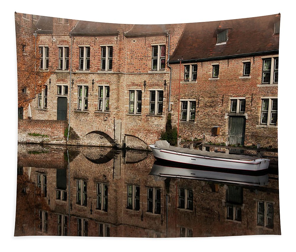 Architecture Tapestry featuring the photograph Postcard Canal II by Joan Carroll