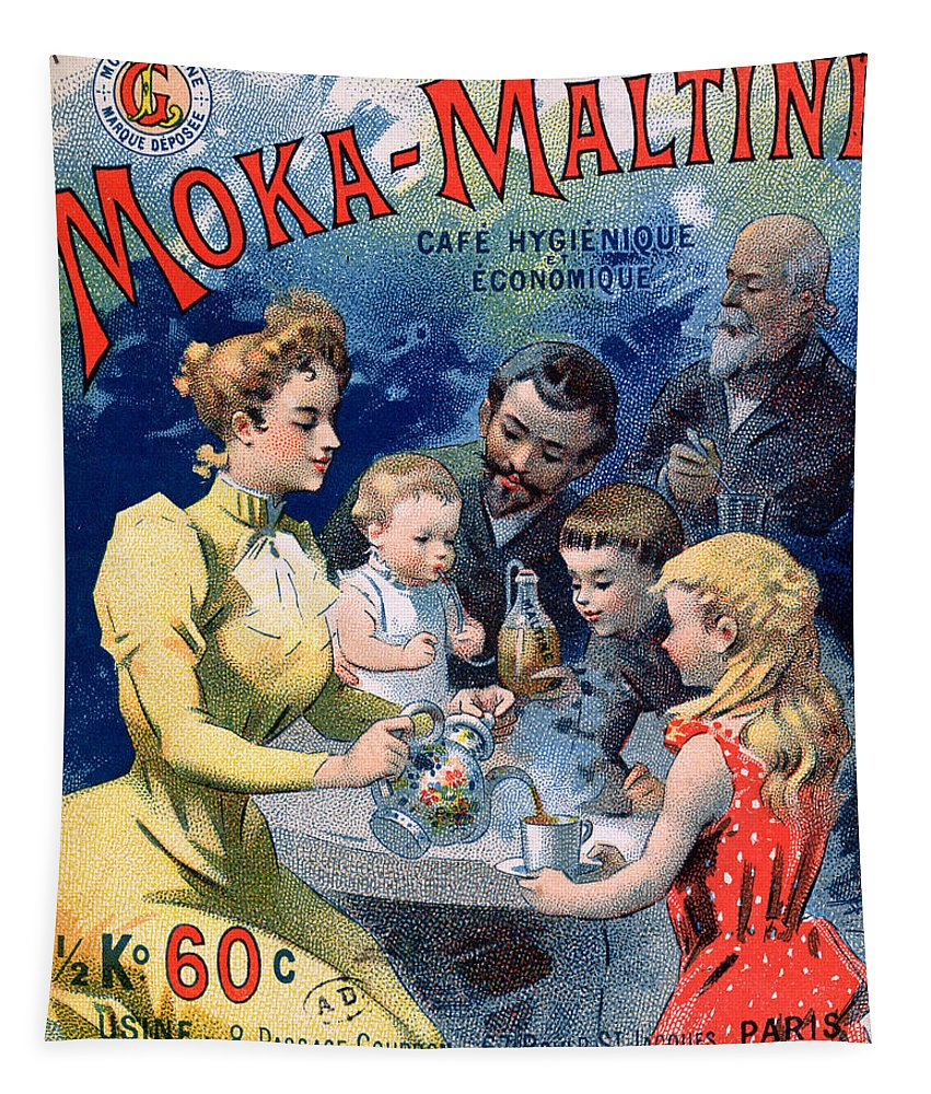 Family Tapestry featuring the painting Poster Advertising Moka Maltine Coffee by French School