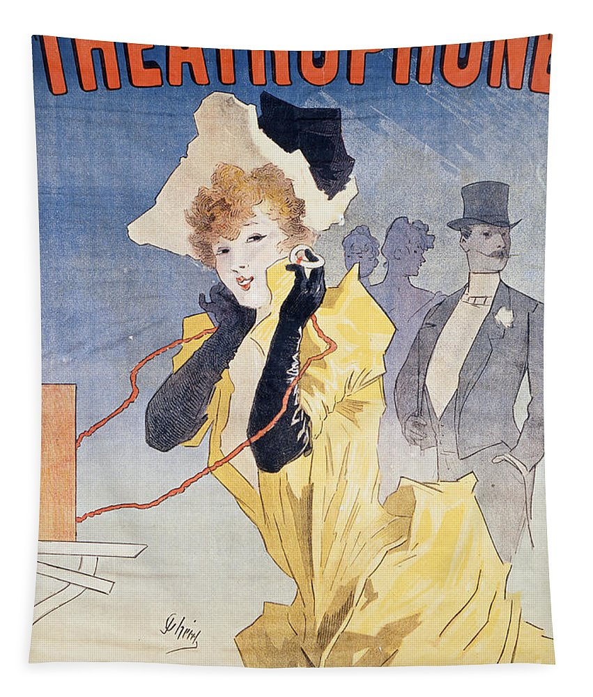 Vintage Tapestry featuring the painting Poster Advertising The Theatrophone by Jules Cheret