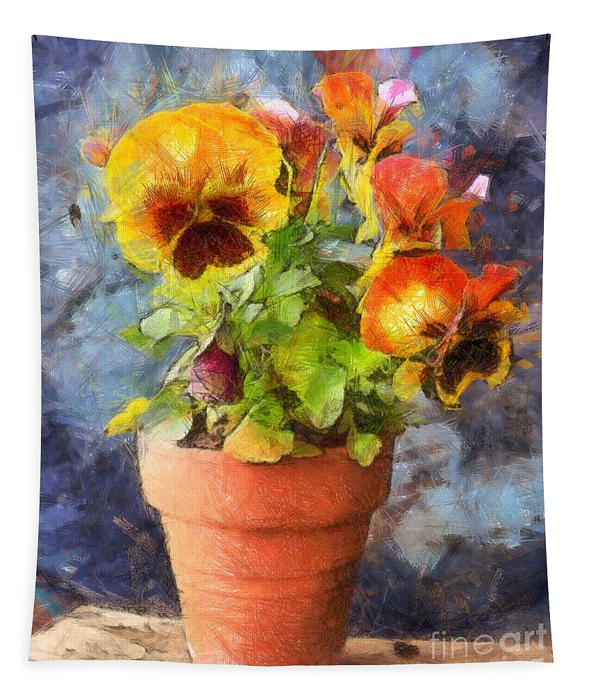 Flowers Tapestry featuring the photograph Potted Pansy Pencil by Edward Fielding