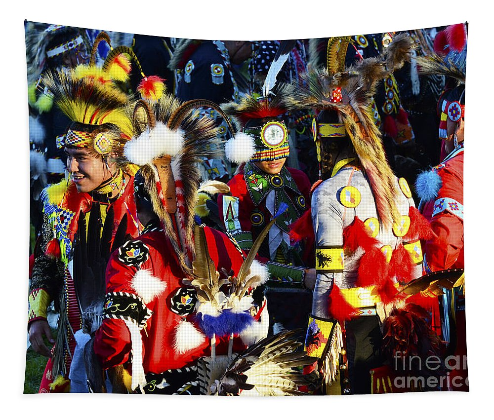 Pow Wow Tapestry featuring the photograph Pow Wow Beauty Of The Past 5 by Bob Christopher