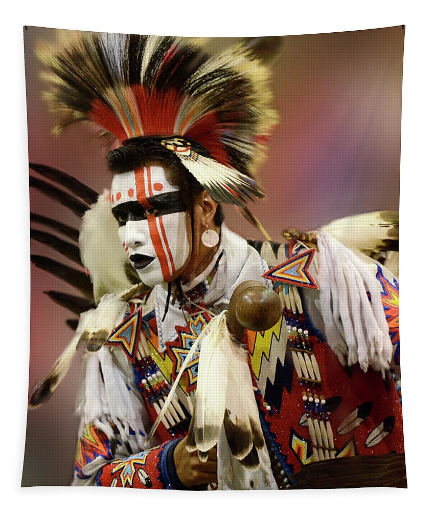 Native Tapestry featuring the photograph Pow Wow Chicken Dancer 1 by Bob Christopher