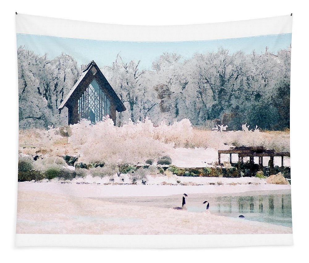 Landscape Tapestry featuring the photograph Powell Gardens Chapel by Steve Karol