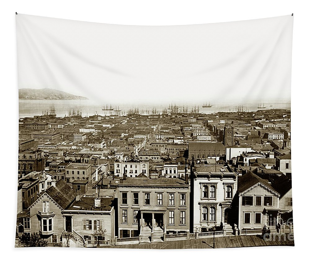 Powell Street Tapestry featuring the photograph Powell Street Between Sacramento And California San Francisco Circa 1866 by California Views Archives Mr Pat Hathaway Archives