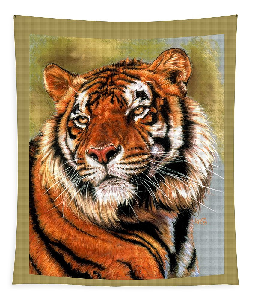 Tiger Tapestry featuring the pastel Power and Grace by Barbara Keith