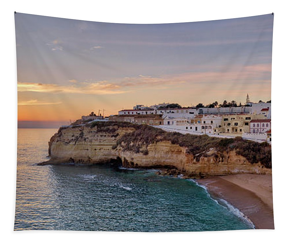 Algarve Tapestry featuring the photograph Praia Do Carvoeiro Sunset by Mikehoward Photography