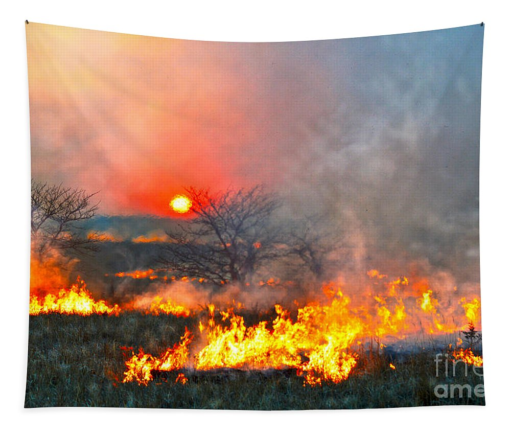 Flint Hills Tapestry featuring the photograph Prairie Burn Sunset In Kansas by Catherine Sherman