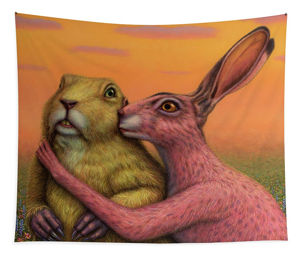 Couple Tapestry featuring the painting Prairie Dog and Rabbit Couple by James W Johnson