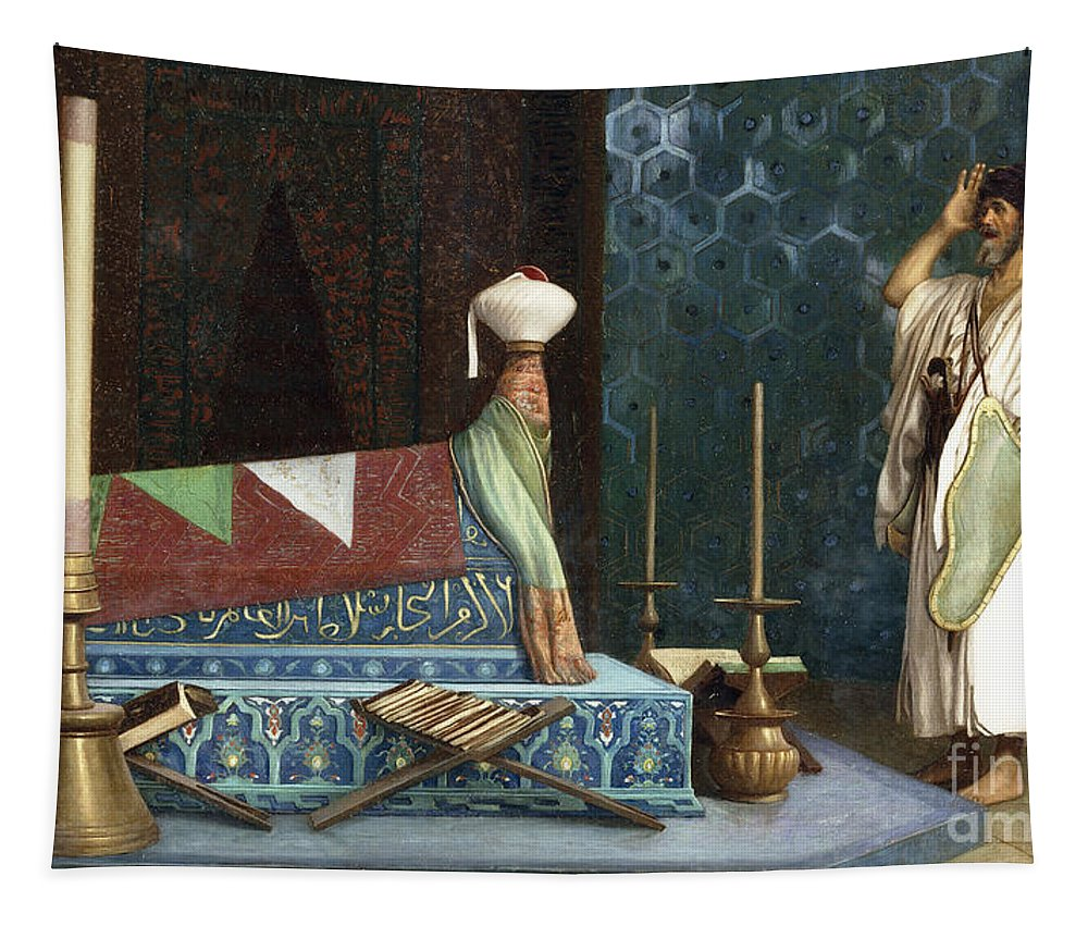 Gerome Tapestry featuring the painting Prayer At The Sultan's Room The Grief Of Akubar by Jean Leon Gerome