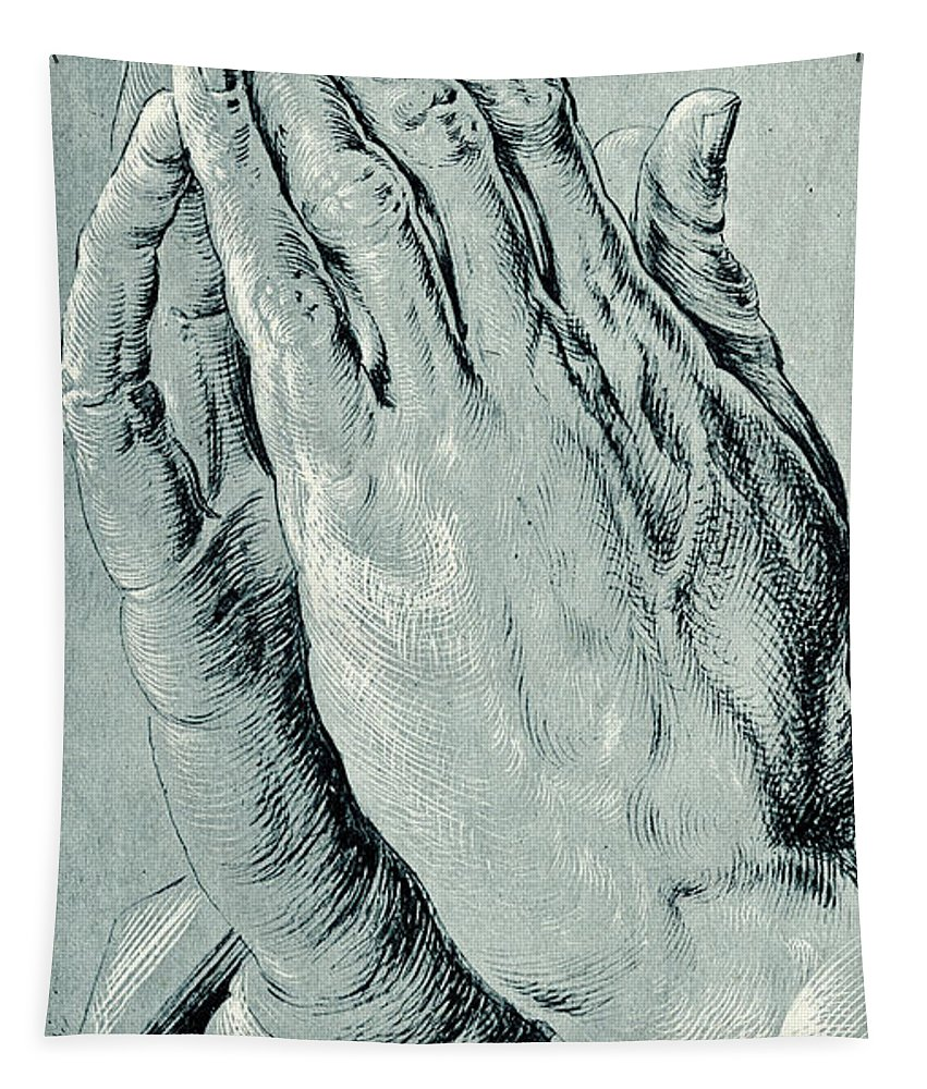 Hands Tapestry featuring the drawing Praying Hands, Also Known As Study Of The Hands Of An Apostle by Albrecht Durer