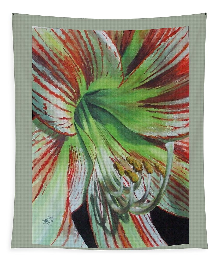Amaryllis Tapestry featuring the painting Precious by Barbara Keith