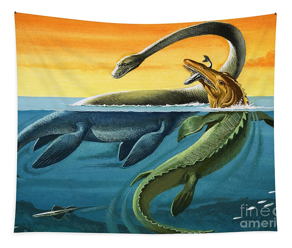 Dinosaur Tapestry featuring the painting Prehistoric Creatures In The Ocean by English School