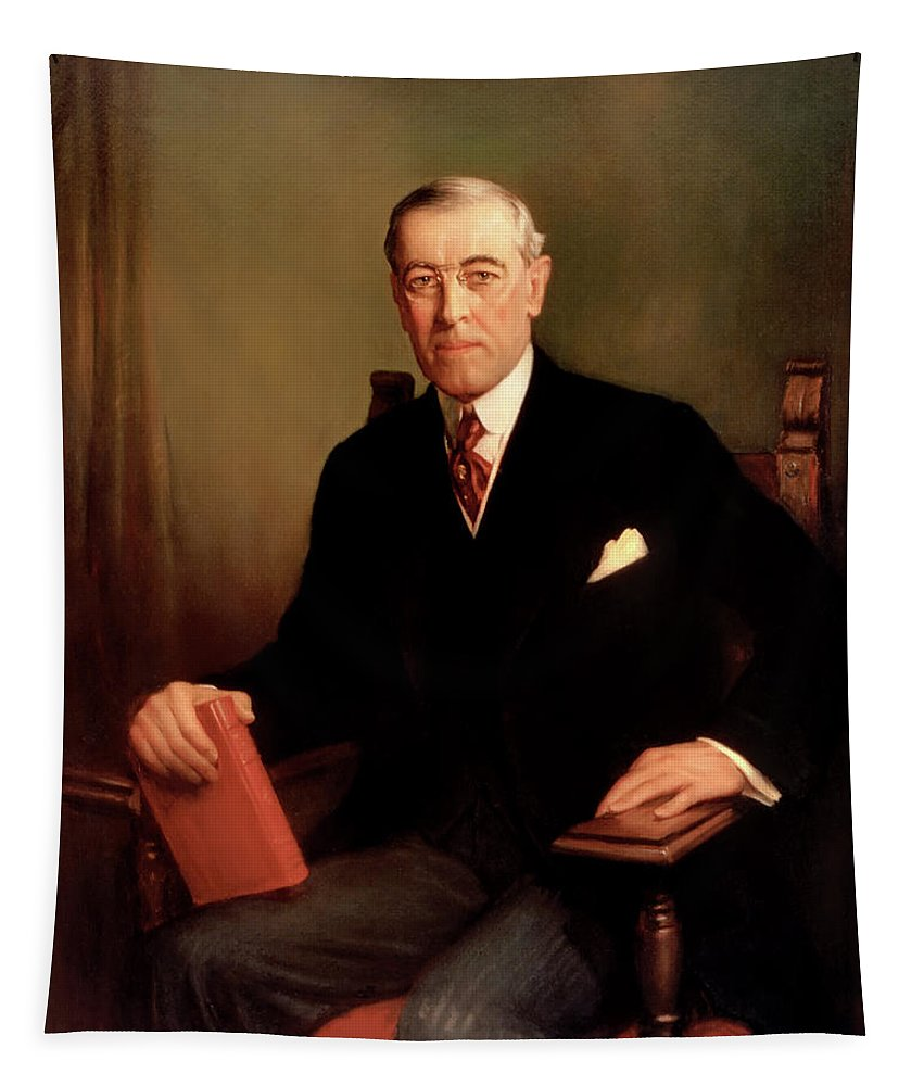 Painting Tapestry featuring the painting President Woodrow Wilson by Mountain Dreams