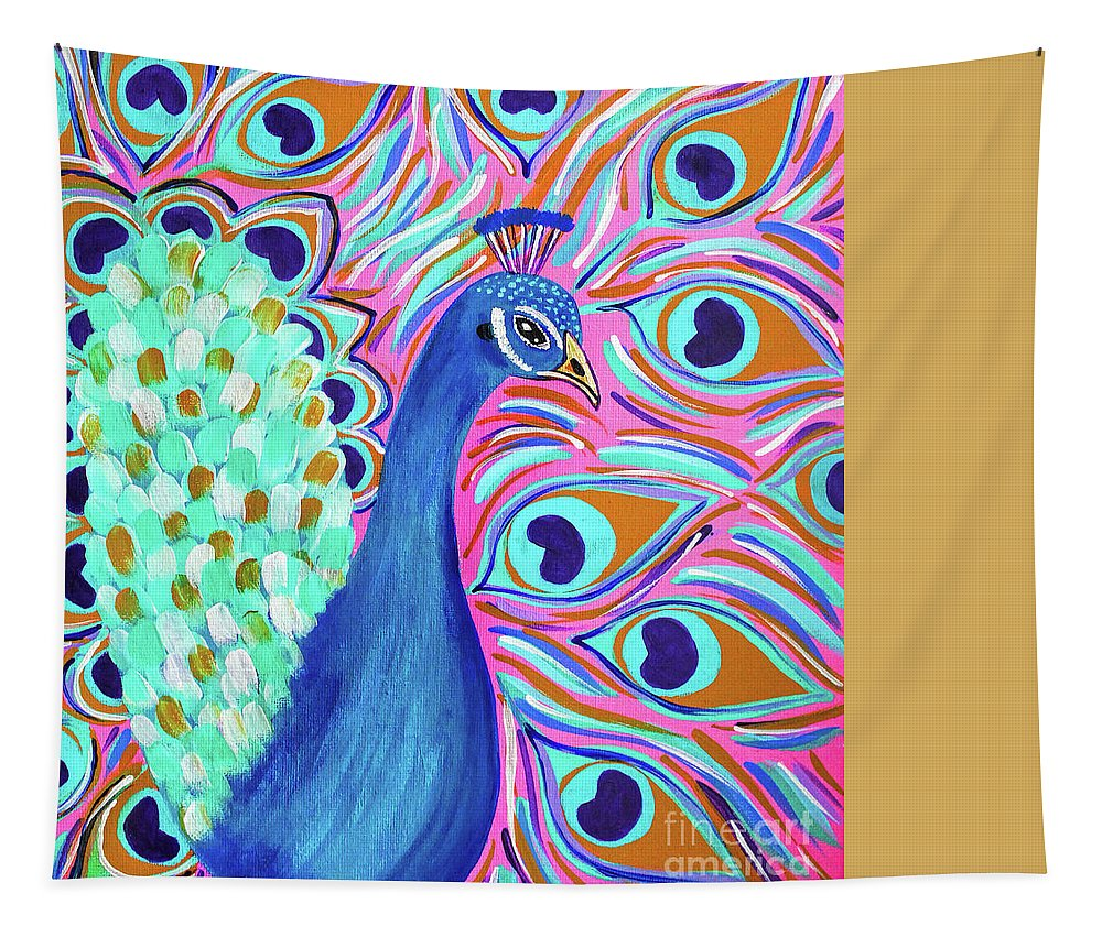 Peacock Tapestry featuring the digital art Pretty Peacock by Tina LeCour