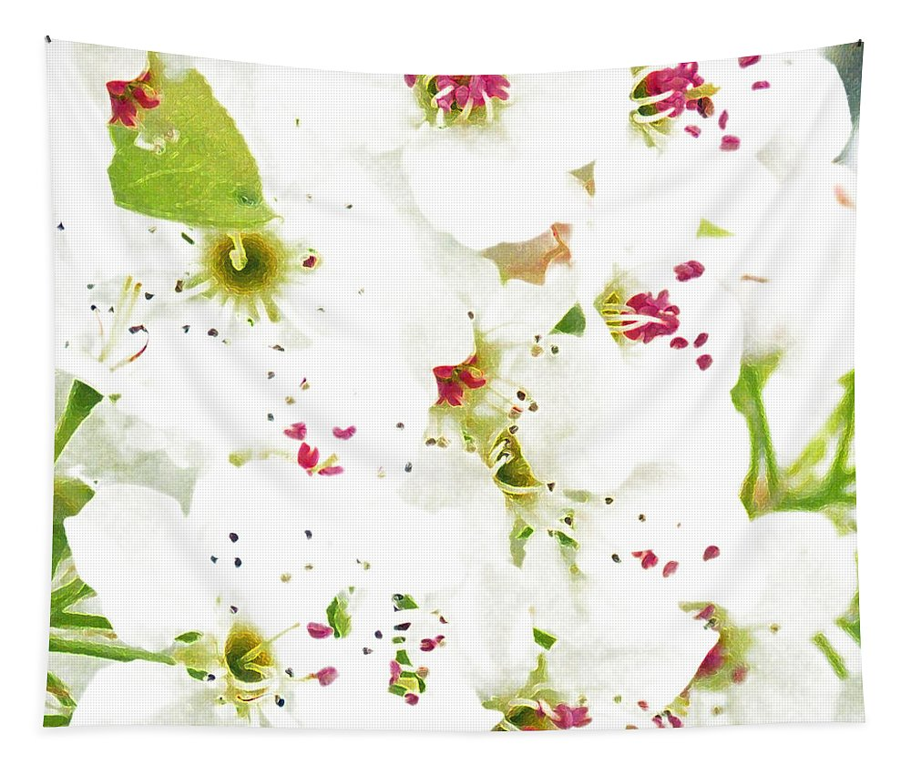 Pretty Pear Petals Tapestry featuring the photograph Pretty Pear Petals by Anita Faye