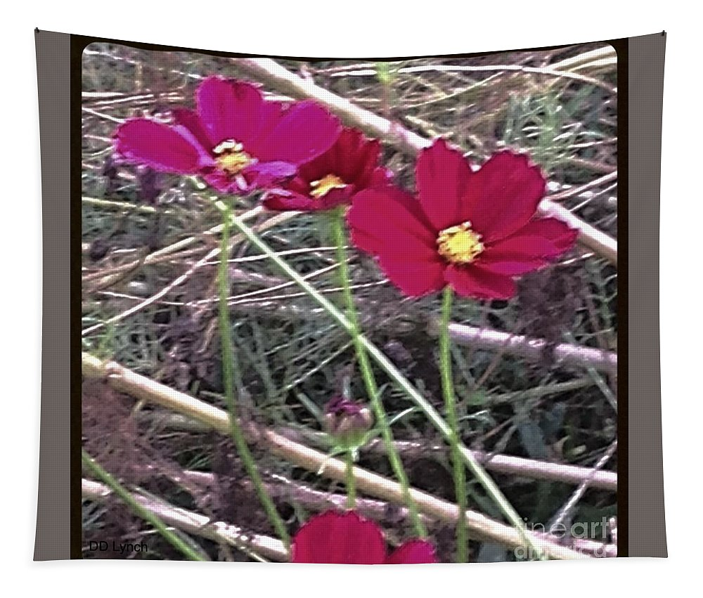 Flowers Tapestry featuring the photograph Pretty Red And Yellow Flowers In The Twigs by Debra Lynch