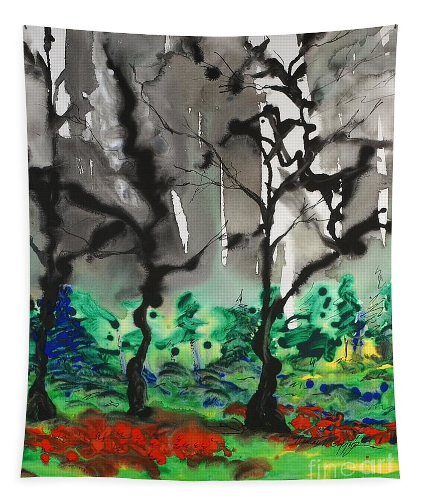 Forest Tapestry featuring the painting Primary Forest by Nadine Rippelmeyer