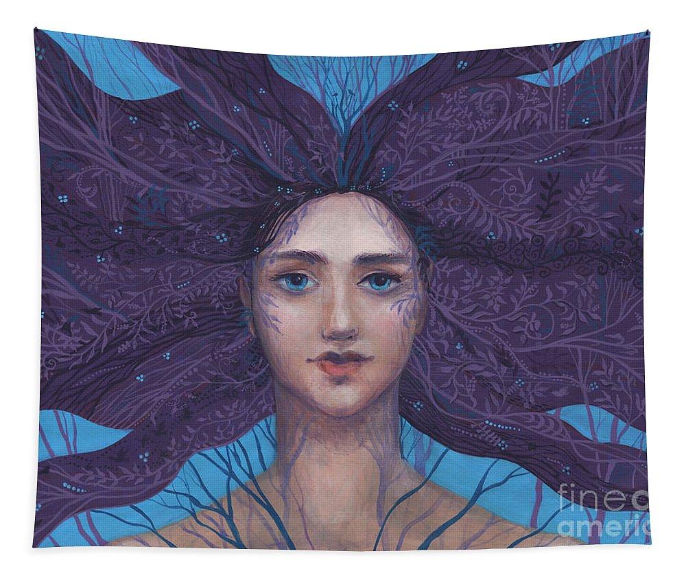 Primavera Tapestry featuring the painting Primavera by Julia Khoroshikh