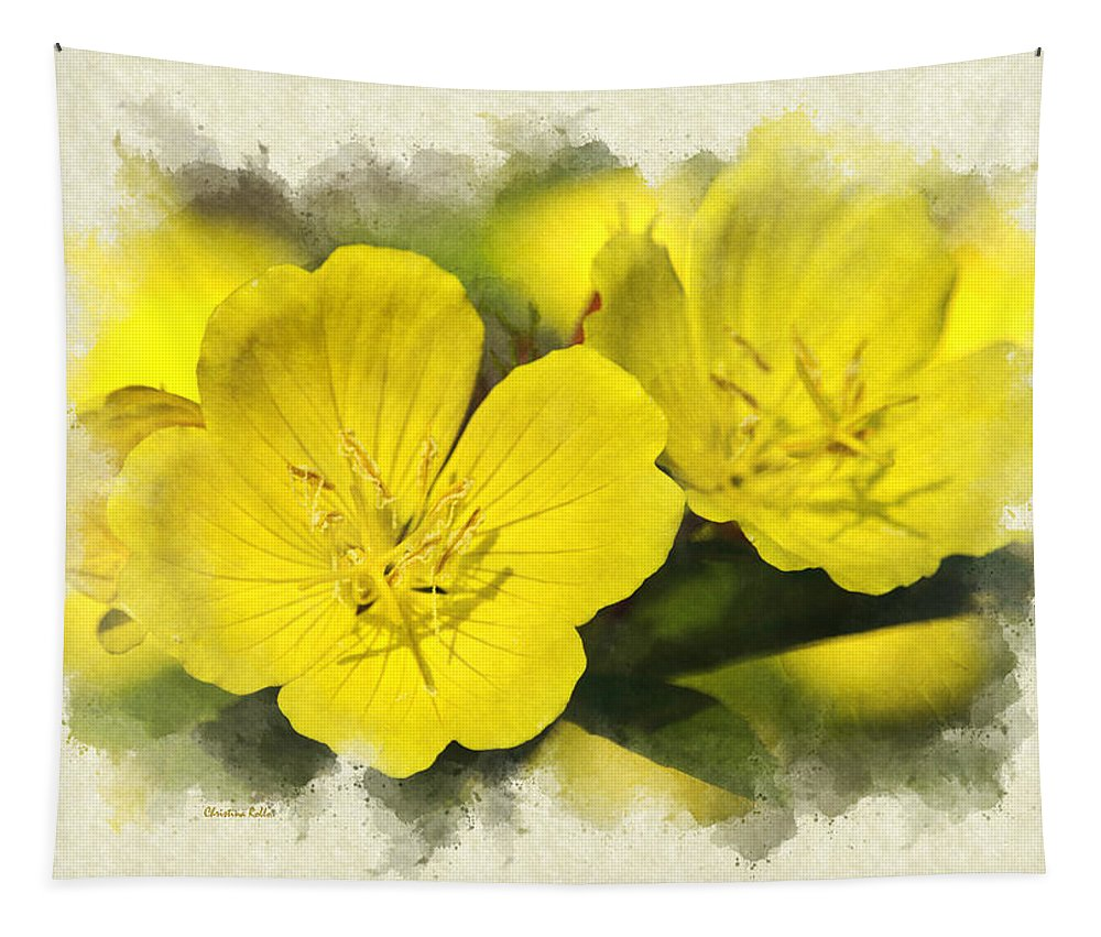 Invitation Card Tapestry featuring the photograph Primrose Flowers Blank Note Card by Christina Rollo