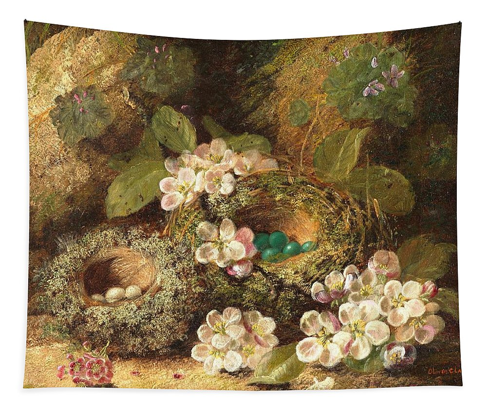 Primroses And Bird's Nests On A Mossy Bank Tapestry featuring the painting Primroses And Bird's Nests On A Mossy Bank by Oliver Clare