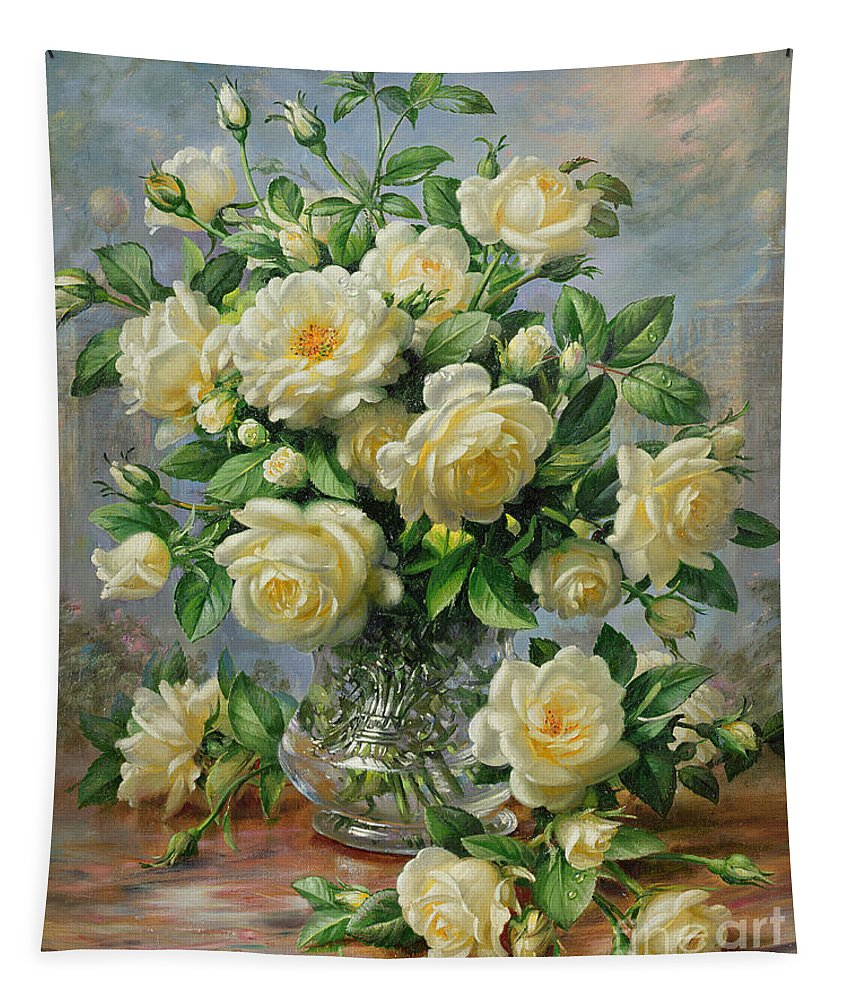 In Honour Of Lady Diana Spencer (1961-97); Still Life; Flower; Rose; Arrangement; Princess Of Wales (1981-96); Homage; Yellow; Flowers; Leafs Tapestry featuring the painting Princess Diana Roses in a Cut Glass Vase by Albert Williams