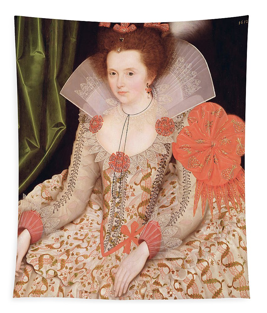 Princess Tapestry featuring the painting Princess Elizabeth The Daughter Of King James I by Marcus Gheeraerts