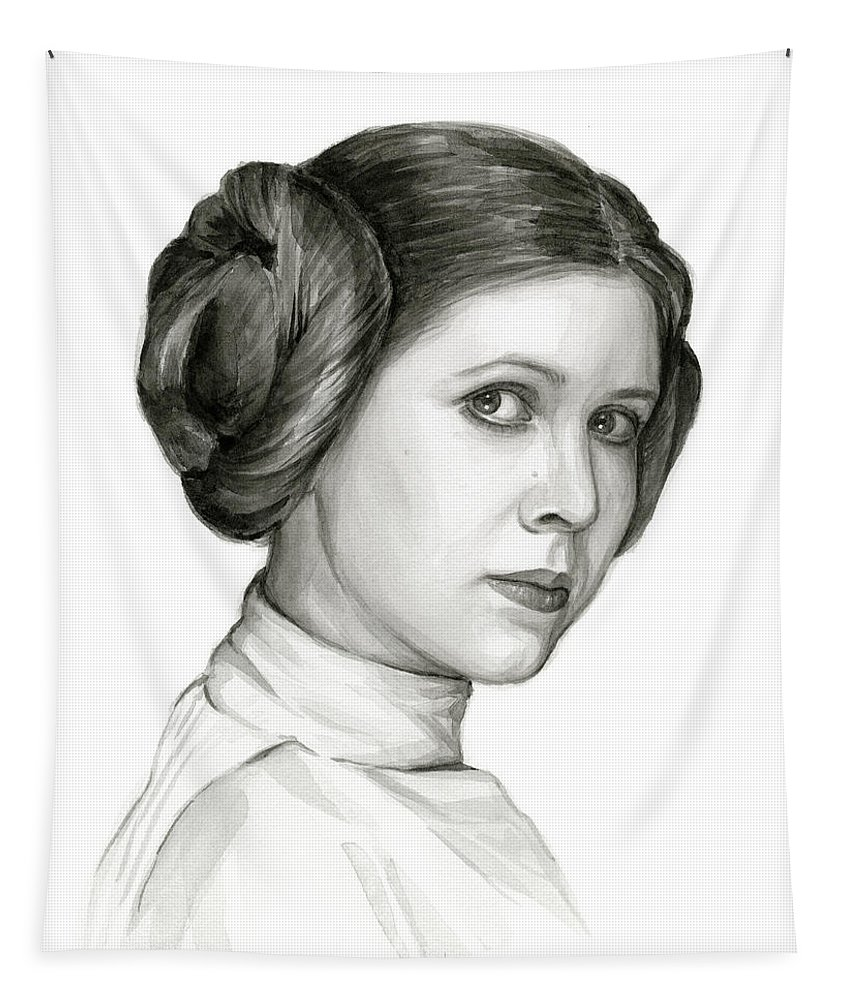 Leia Tapestry featuring the painting Princess Leia Watercolor Portrait by Olga Shvartsur