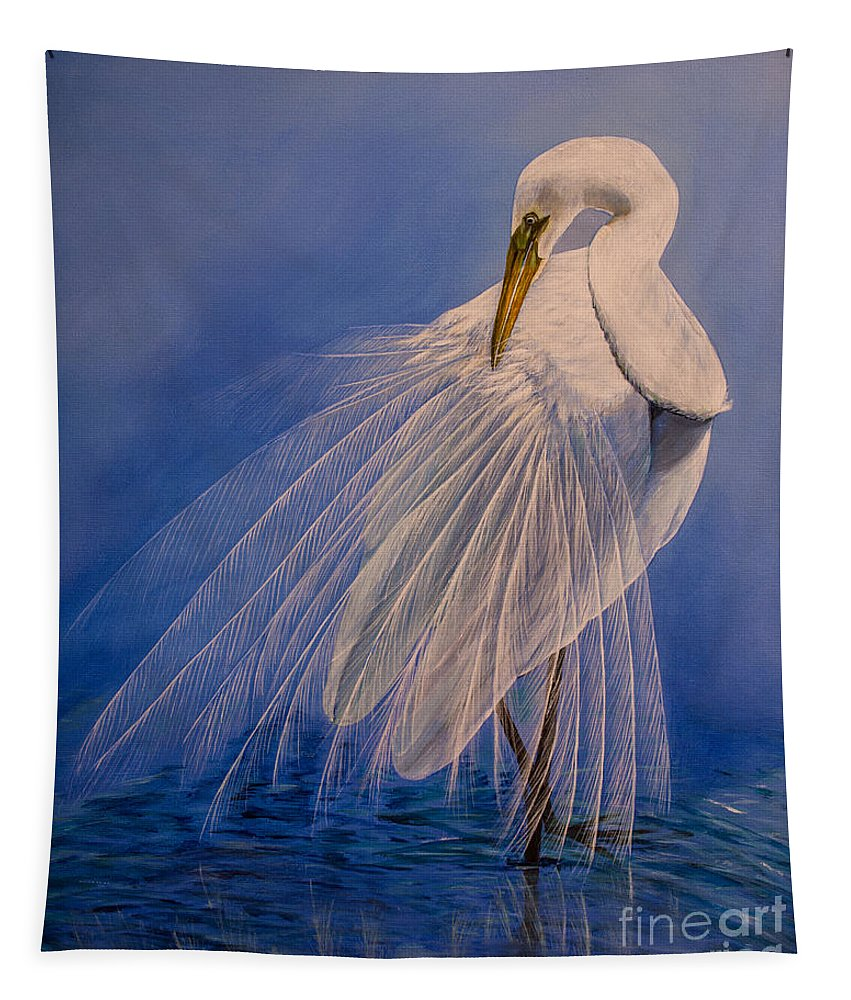 Egret Tapestry featuring the painting Princess Of The Mist by Zina Stromberg