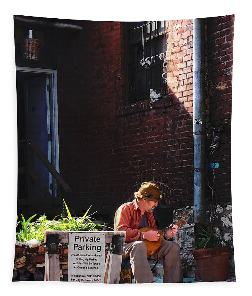 City Scape Tapestry featuring the photograph Private Parking by Steve Karol