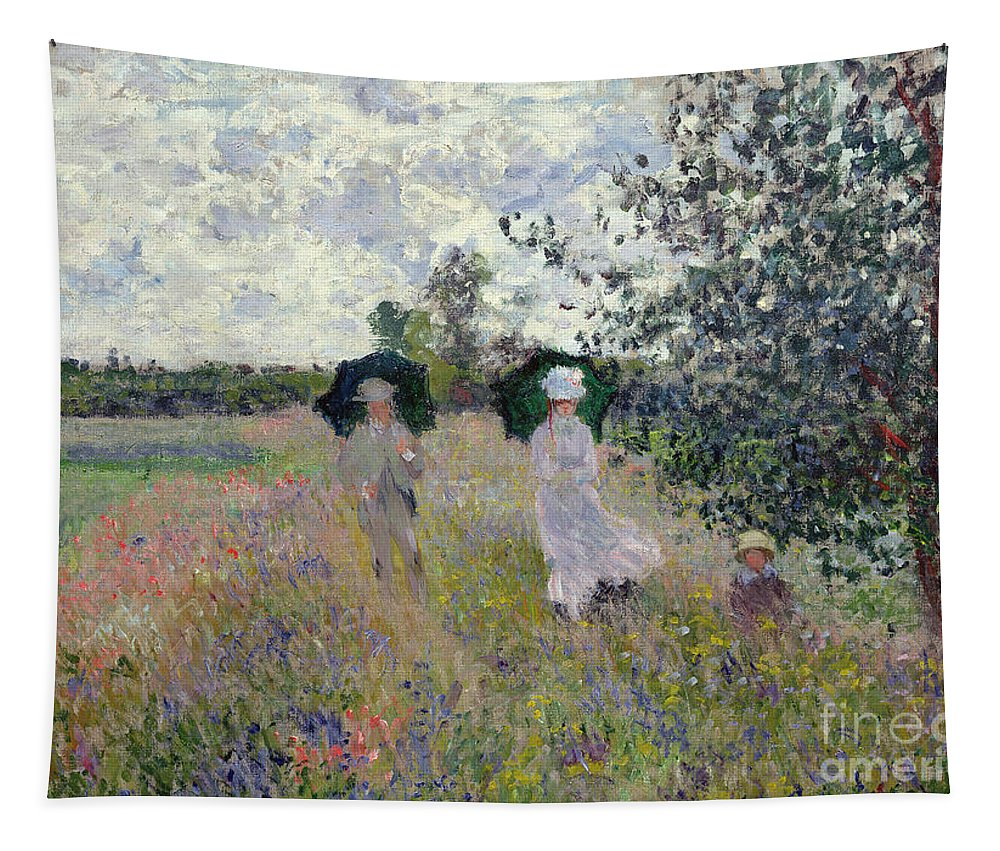 Walk; Walking; Landscape; Impressionist; Male; Female; Family; Child; Parasol; Parasols; Monet; Claude; Family; Umbrella; Umbrellas; Dress; Suit; Hat; Hats; Stroll; Tree; Trees; Grass; Grassy; Green; Flower; Flowers; Bush; Bushes; Argenteuil Tapestry featuring the painting Promenade Near Argenteuil by Claude Monet