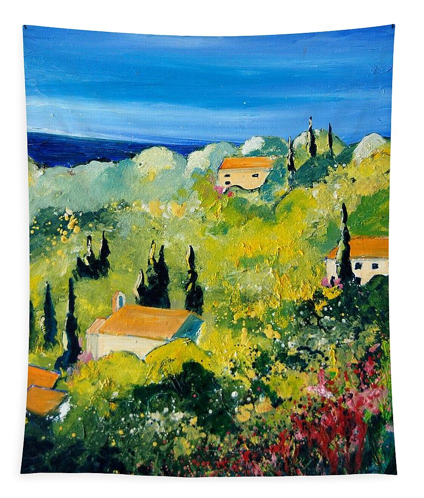 Village Tapestry featuring the painting Provence 459070 by Pol Ledent