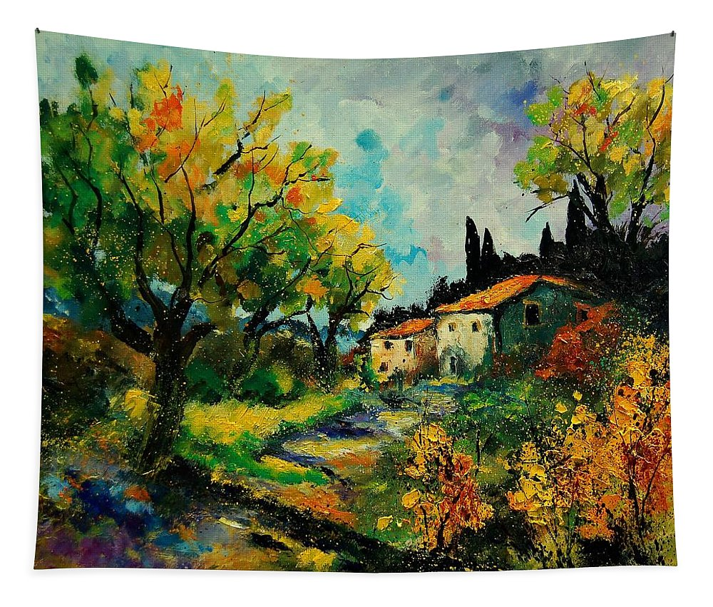 Landscape Tapestry featuring the painting Provence 670110 by Pol Ledent