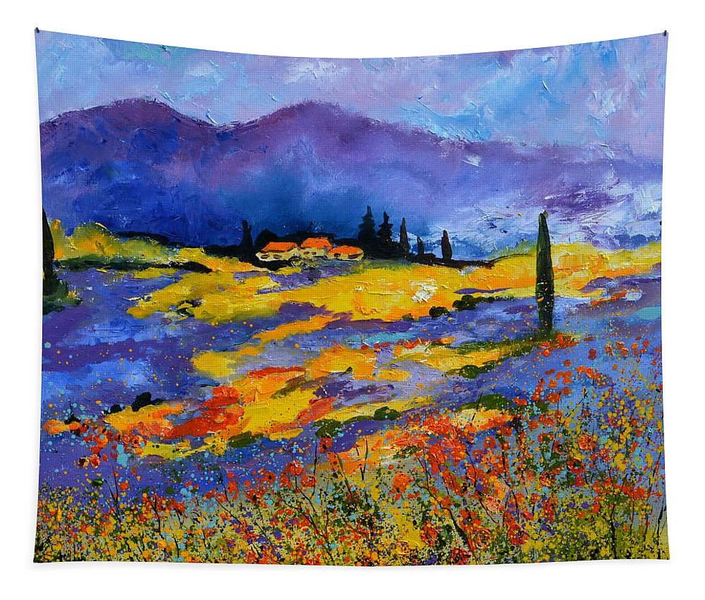 Landscape Tapestry featuring the painting Provence 871602 by Pol Ledent