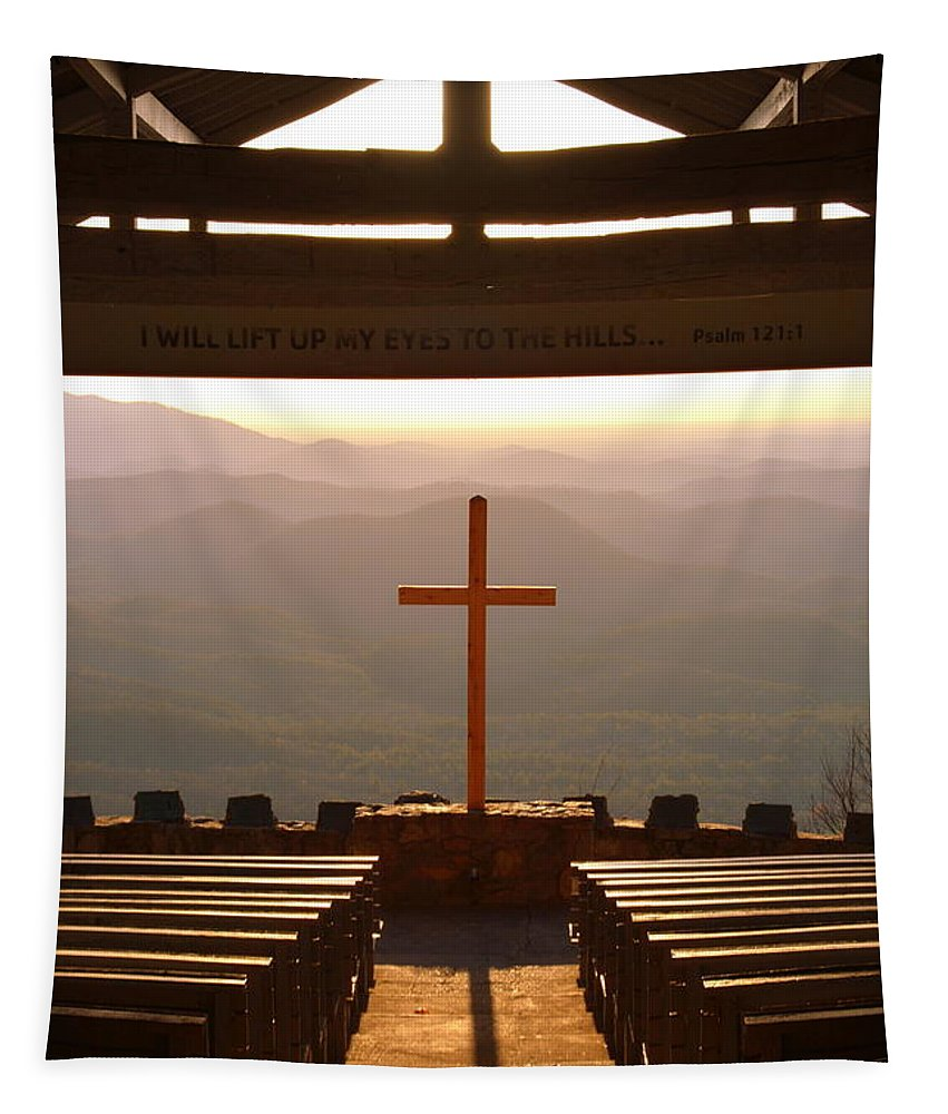 Psalm 121:1 I Will Lift My Eyes To The Hills Tapestry featuring the photograph Psalm 121 1 I Will Lift My Eyes To The Hills by Lisa Wooten