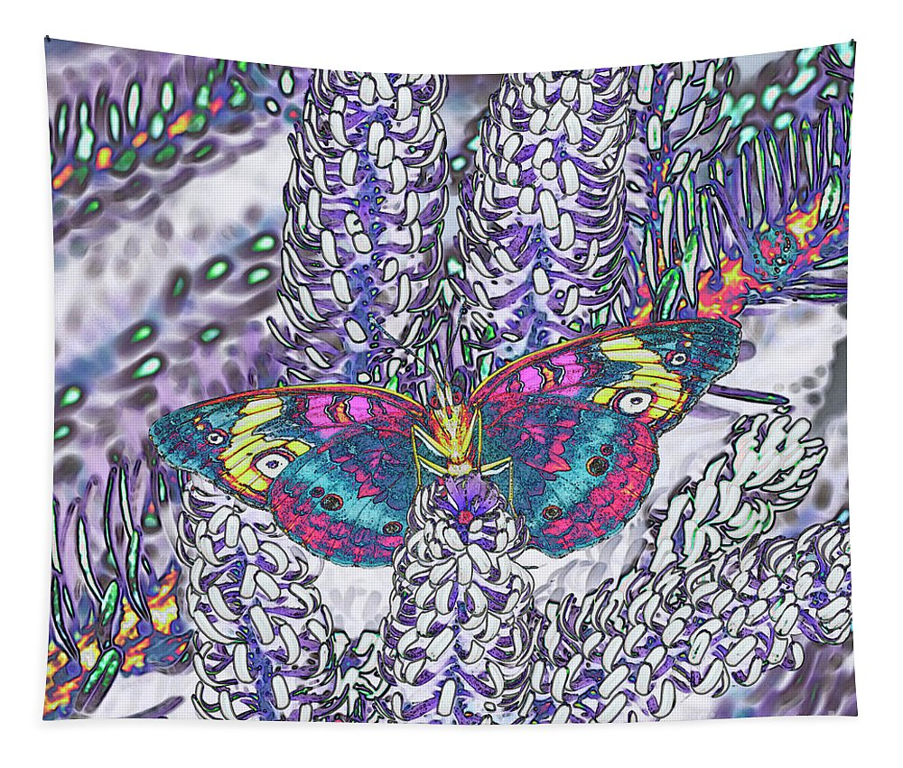 Abstract Tapestry featuring the photograph Psychedelic Butterfly by Marv Vandehey
