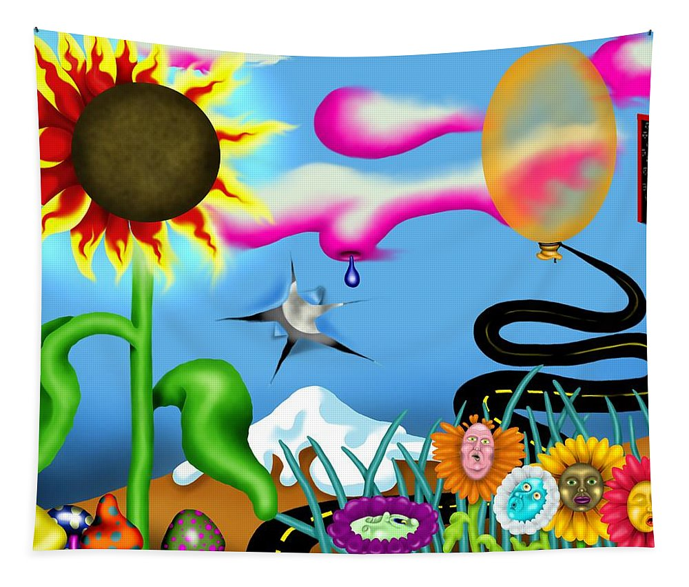 Surrealism Tapestry featuring the digital art Psychedelic Dreamscape I by Robert Morin