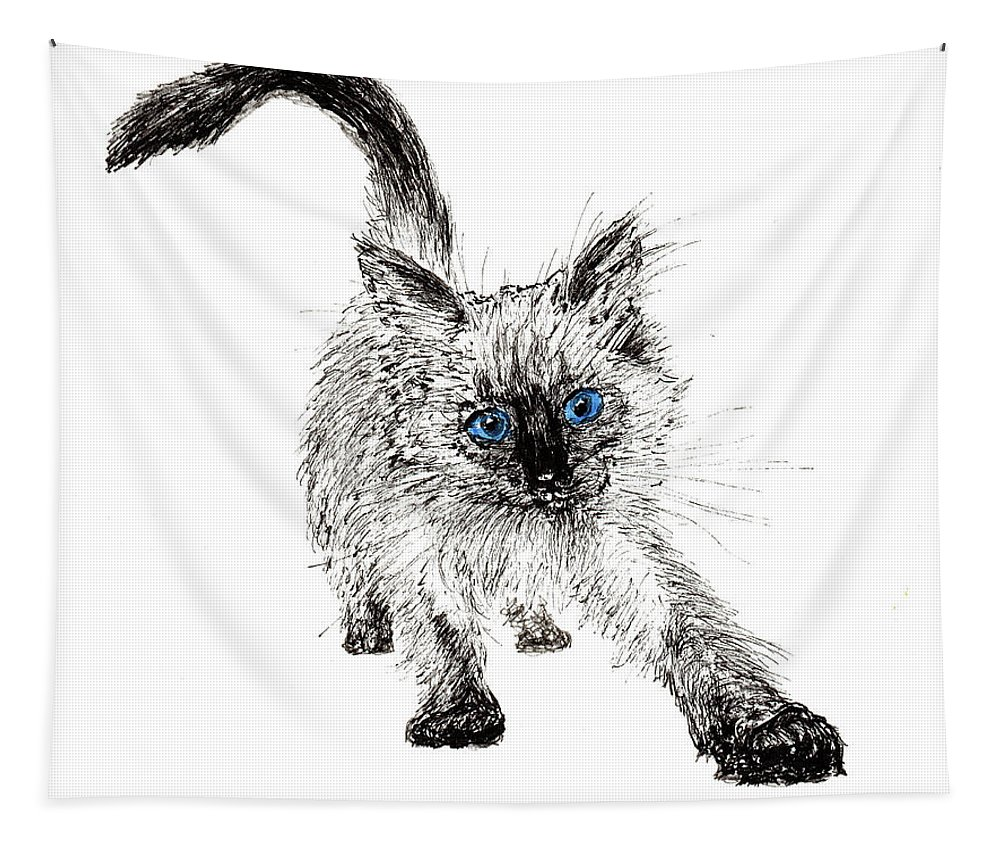 Cat Tapestry featuring the drawing Pudsquiz Belina On The Prowl by Vincent Alexander Booth