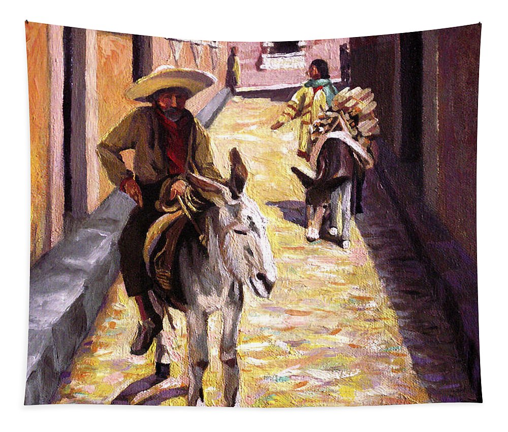 Impressionism Tapestry featuring the painting Pulling up the Rear in Mexico by Nancy Griswold
