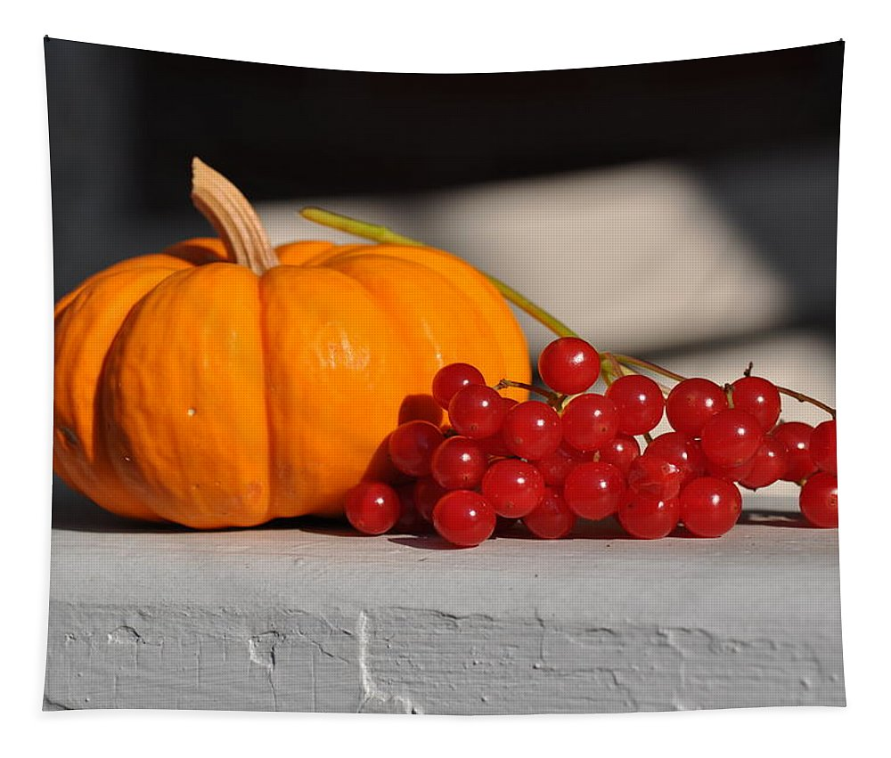 Pumpkin Tapestry featuring the photograph Pumpkin N Berries by Barbara Treaster