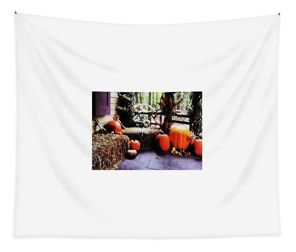 Autumn Tapestry featuring the photograph Pumpkins On Porch by Susan Savad