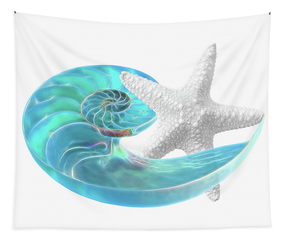 Nautilus Tapestry featuring the photograph Pure Joy - Starfish With Nautilus Shell by Gill Billington